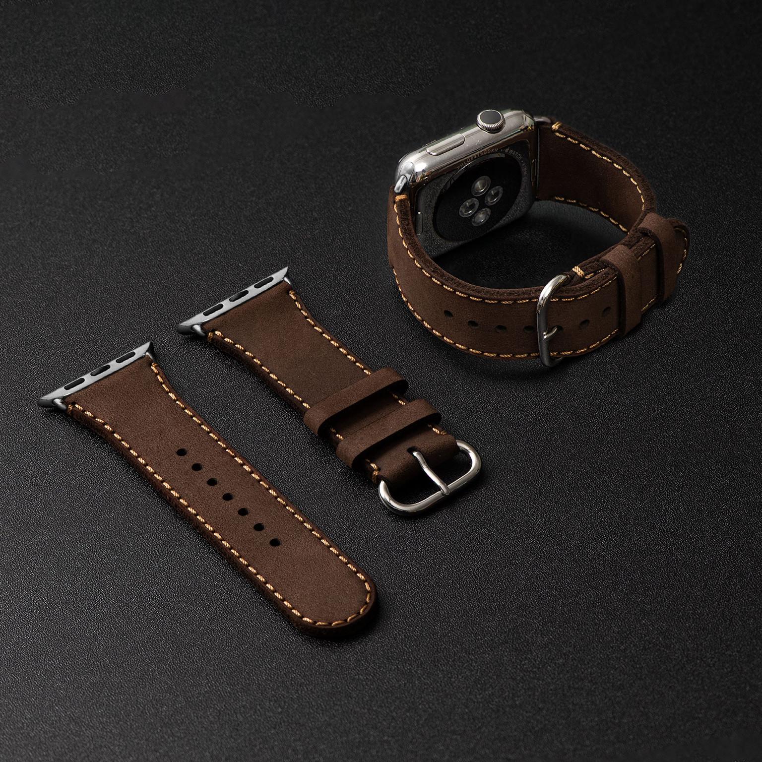 Dây da đồng hồ SEN Apple Watch size 38/40 - CHÍNH HÃNG KHACTEN.COM - NÂU SÁP - 191 - ADAPTER BẠC