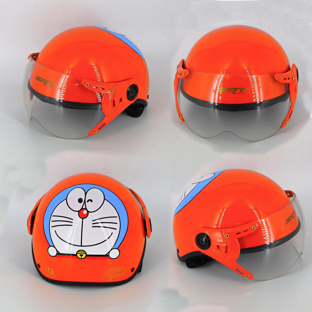 Mũ bảo hiểm cho bé SRT ASA01 cao cấp, nón bảo hiểm trẻ em từ 3 đến 10 tuổi - tem Doremon, lót ép nhiệt