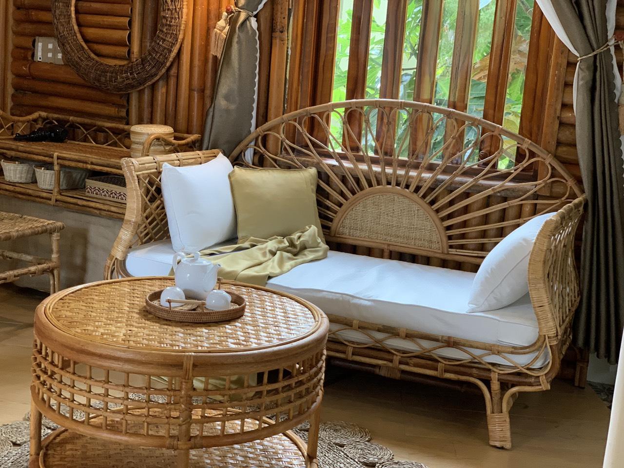 Bộ Bàn Ghế/ Giường Đơn Thư Giãn theo Phong Cách Á Đông _ Rattan Set in Venice Design Indochine SET11