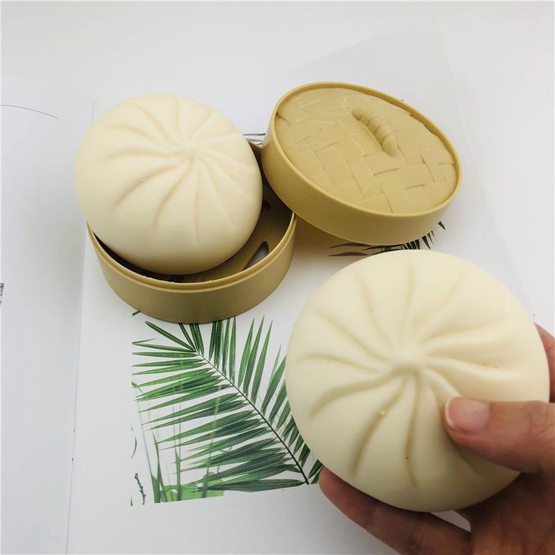 Đồ Chơi Bánh Bao Silicon Giảm Stress Giống Như Thật 8,5cm x 5,5cm Có Kèm Khuôn Hấp