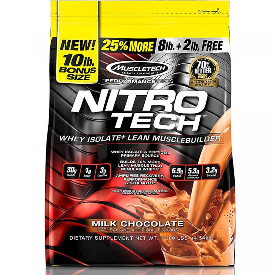 Sữa tăng cơ tăng sức mạnh Nitro Tech 10lbs (~4.54kg) – Bổ sung nguồn Protein chất lượng cao hỗ trợ phát triển cơ bắp to + dày, đồng thời bổ sung thêm Creatine giúp gia tăng sức bền hỗ trợ tập luyện - Hàng nhập khẩu chính hãng - Thương hiệu Muscletech - Kèm quà tặng