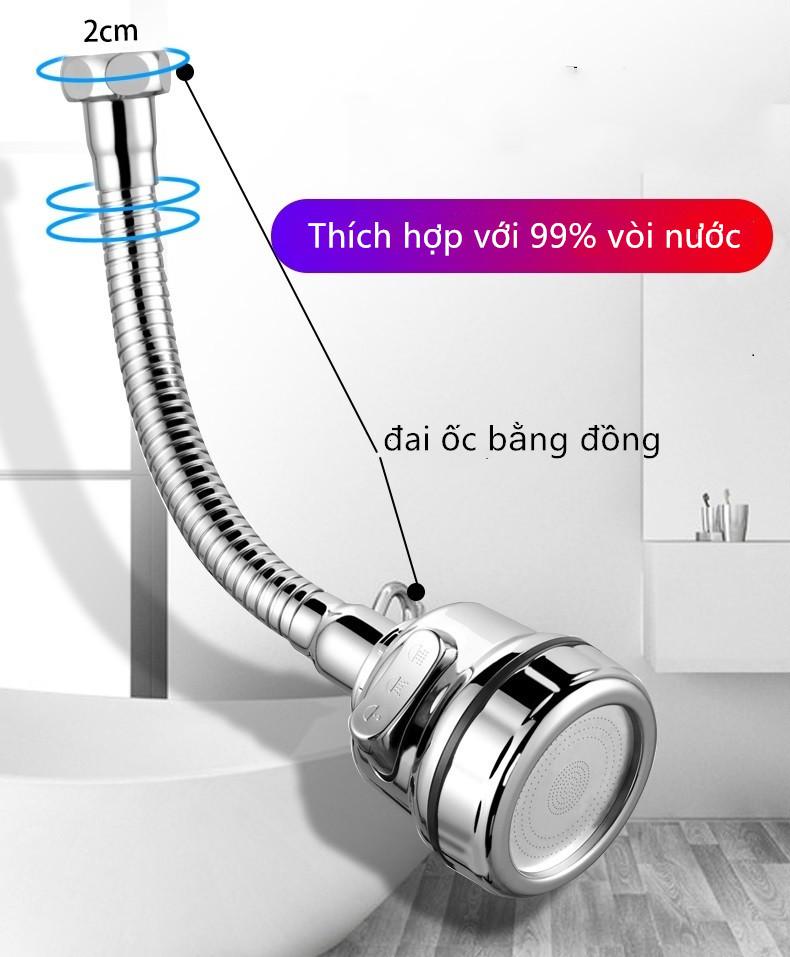 Đầu vòi tăng áp 3 mức độ cho bồn rửa chén ,Chứa các khớp phổ quát, băng nguyên liệu, bộ điều hợp, miếng đệm cao su