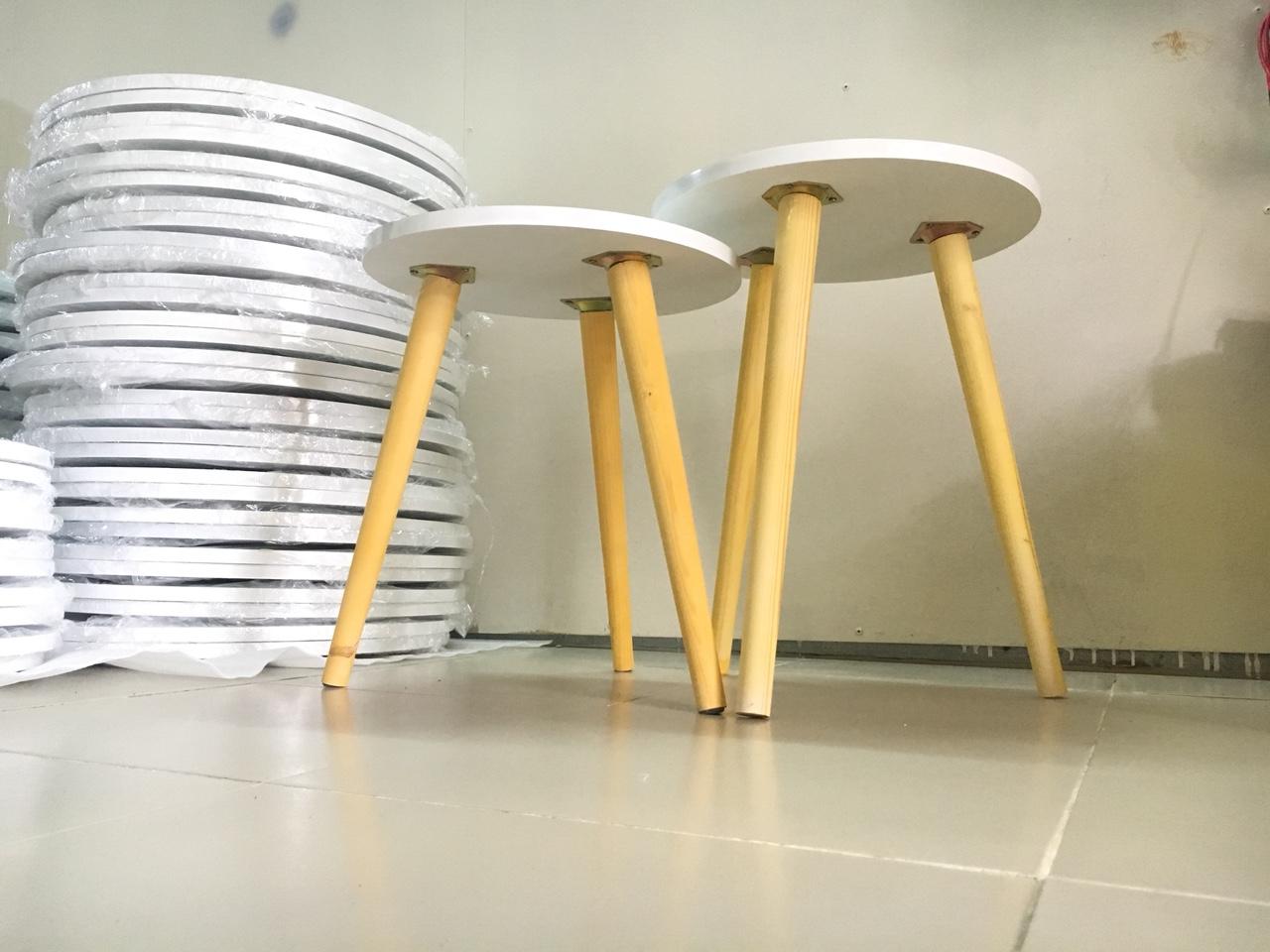 Cặp bàn tròn gỗ sofa phòng khách 40-40, bàn trà, bàn cafe, coffee, cà phê, bàn salon, sopha