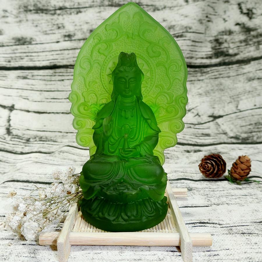 Tượng Phật Quan Âm Lưu Ly Xanh Lá- Bình An - May Mắn - An Khang - Bao Đổi Trả Khi Sai Hình
