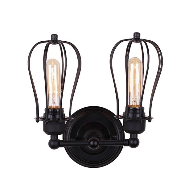 Đèn treo tường - đèn gắn tường - đèn cầu thang rọ sắt đôi dáng quả lê TU001-2D