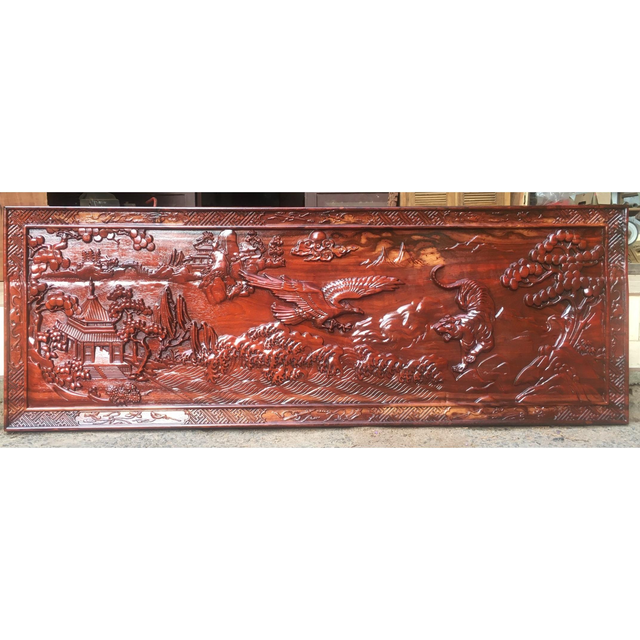 Tranh gỗ ANH HÙNG TƯƠNG NGỘ gỗ HƯƠNG ĐỎ 51cmx141cm