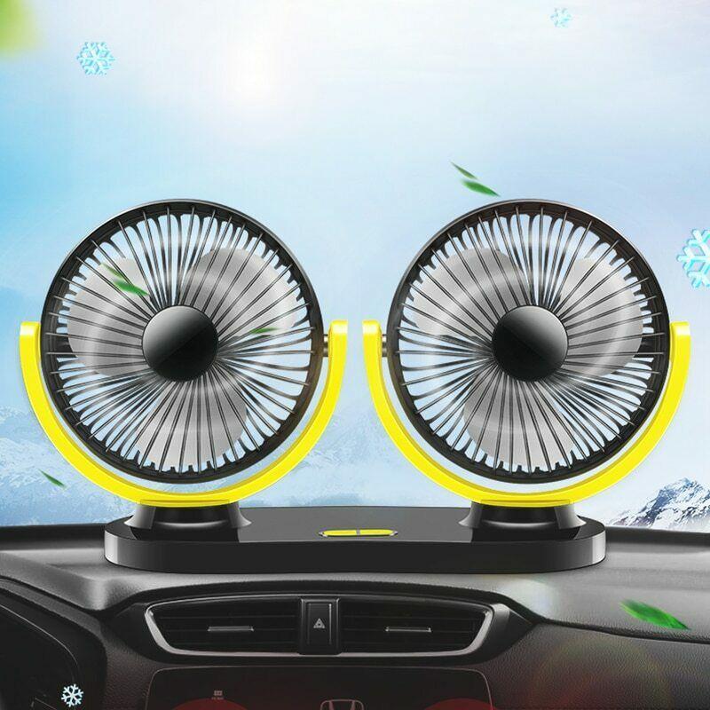 Quạt đôi đa năng quạt cực mạnh cực êm, quay 360 độ dùng nguồn USB 5V dùng trên xe ô tô, Bàn làm việc, tại nhà tại văn phòng rất tiện lợi