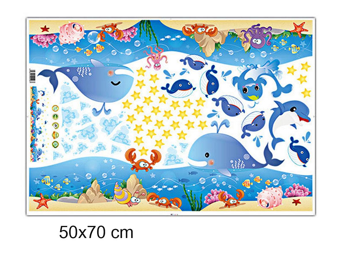 decal dán tường chân tường cá heo xanh xl7149
