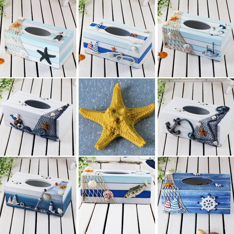 Hộp đựng khăn giấy phong cách biển cả Coastal Style (mẫu ngẫu nhiên inbox để chọn mẫu)