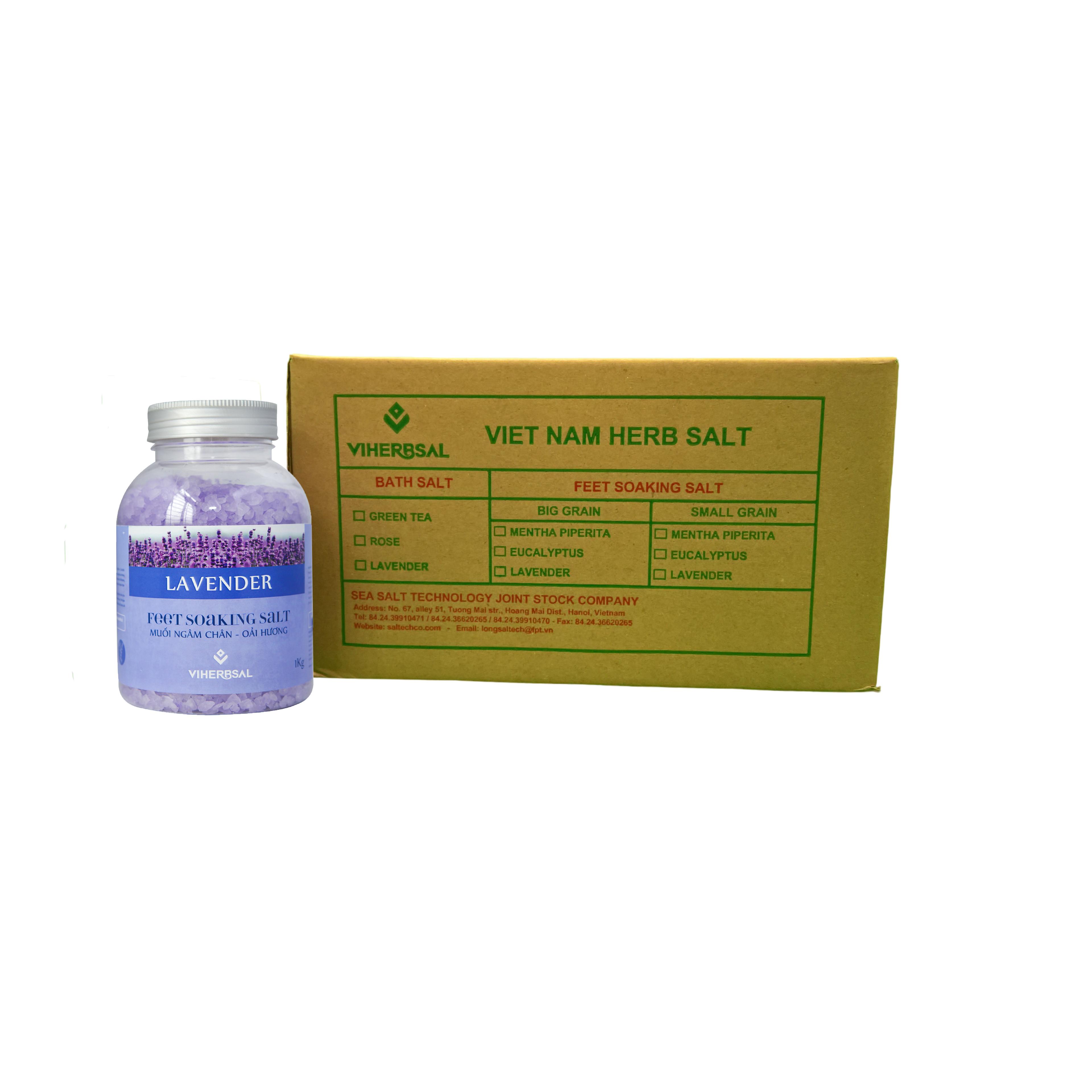 Thùng Muối ngâm chân Oải Hương 6 Lọ - 1kg/ Lọ