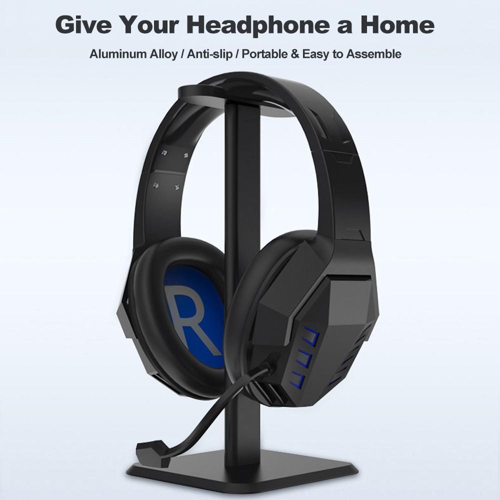 ️ Giá đỡ tai nghe chụp đầu bằng hợp kim nhôm tiện dụng, Chân đế hình vuông chắc chắn