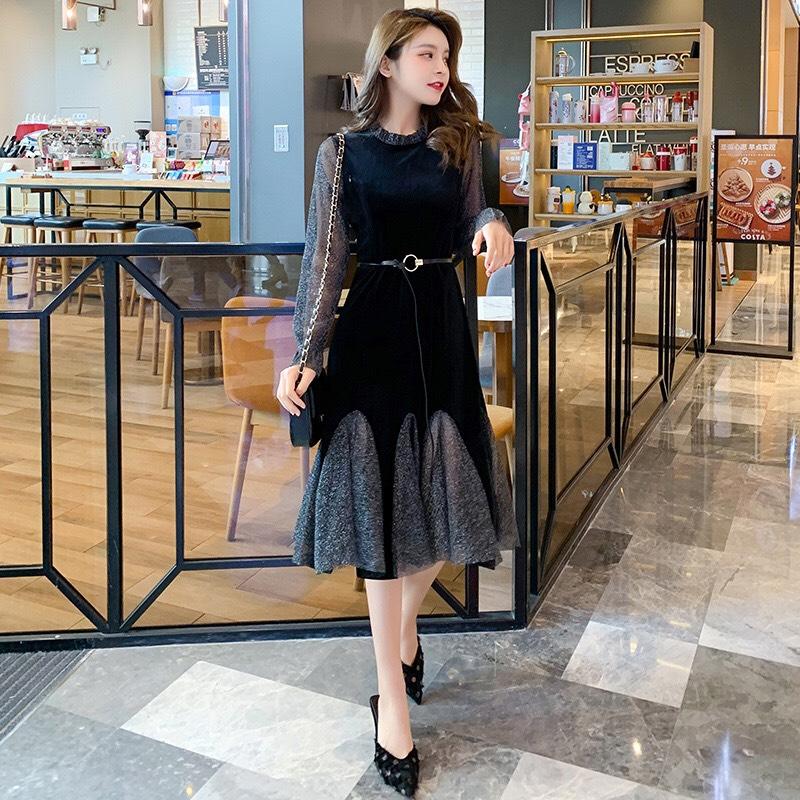 Đầm bầu, váy bầu sau sinh cho con bú dài tay, vải nhung cao cấp 2 lớp màu Xanh Tím, có ảnh thật (hàng Quảng Châu)