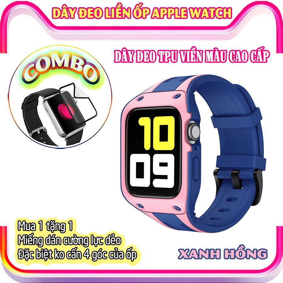 Dây Đeo liền ốp dành cho Apple Watch size 38/40/42/44mm TPU chống sốc viền màu_Xanh Hồng (tặng dán KCL theo size)