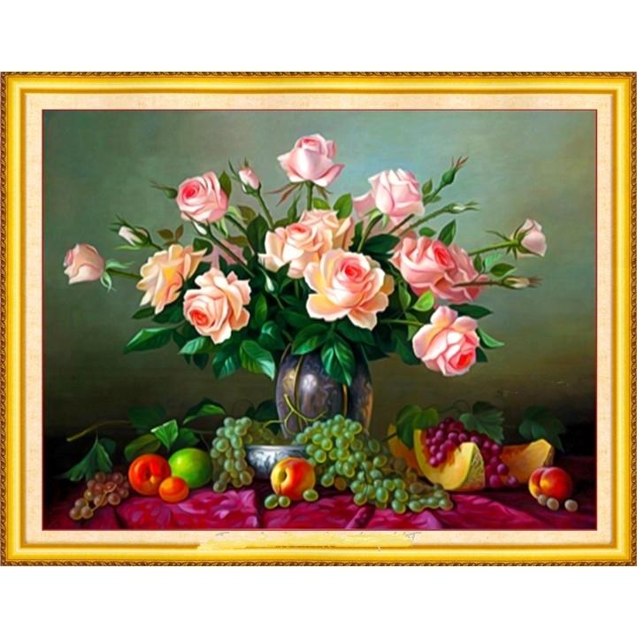 tranh đính đá Bình hồng 62x50cm - chưa đính