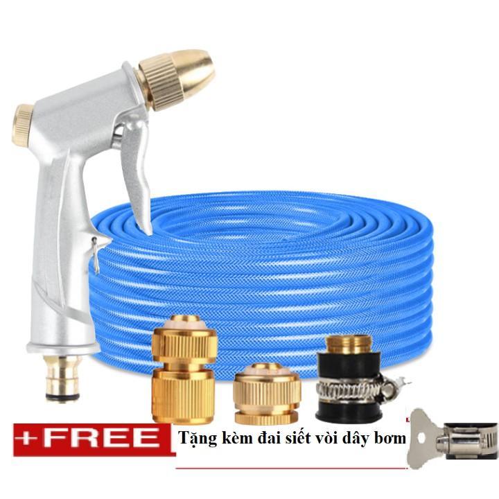 Bộ dây vòi xịt nước rửa xe, tưới cây . tăng áp 3 lần, loại 20m 206701 đầu đồng, cút đồng+ tặng đai