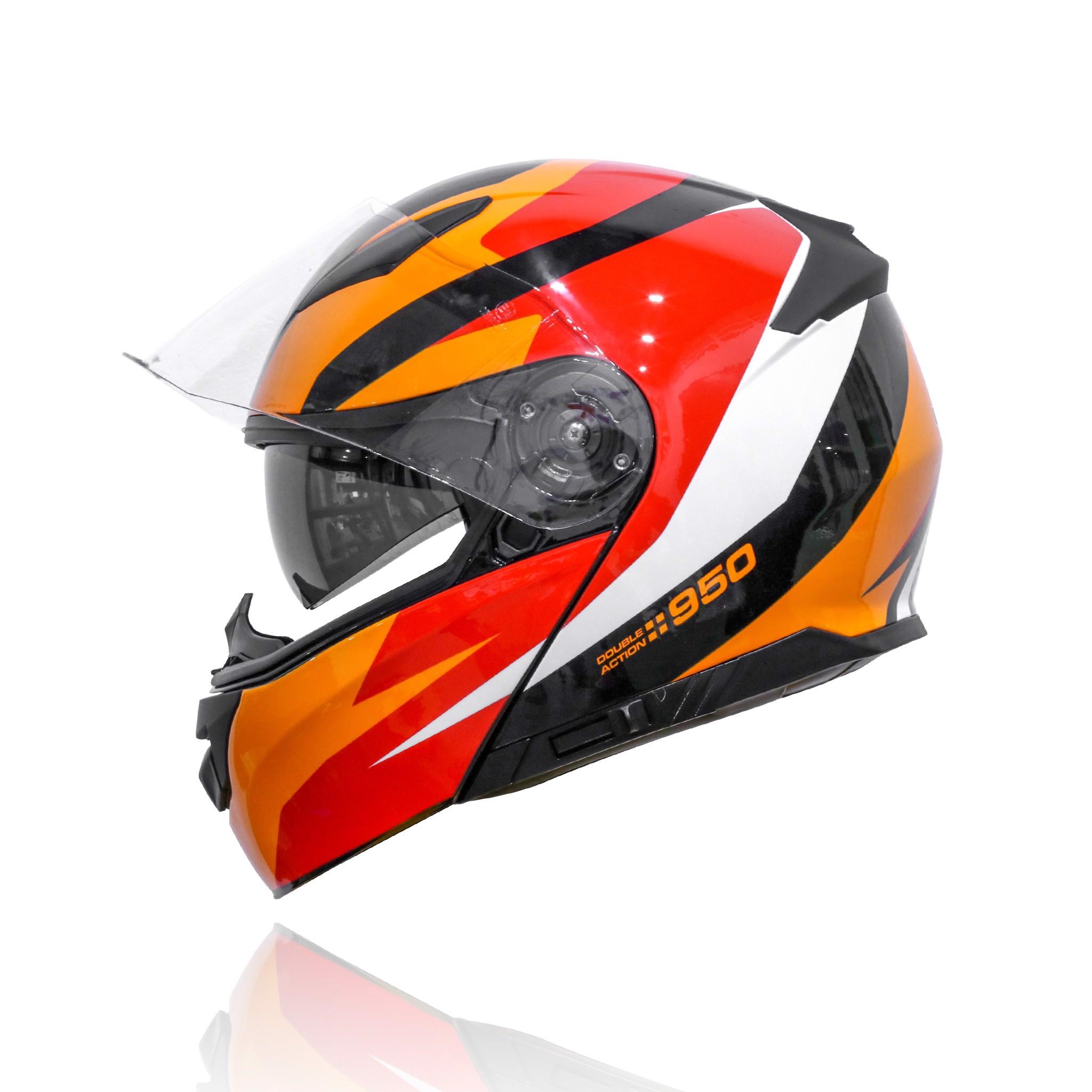 Mũ bảo hiểm Yohe 950 lật hàm 2 kính chính hãng tem Black Orange
