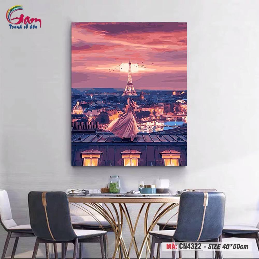 Trang trang trí sơn dầu tự tô Gam cô gái bên tháp Eiffel CN4322