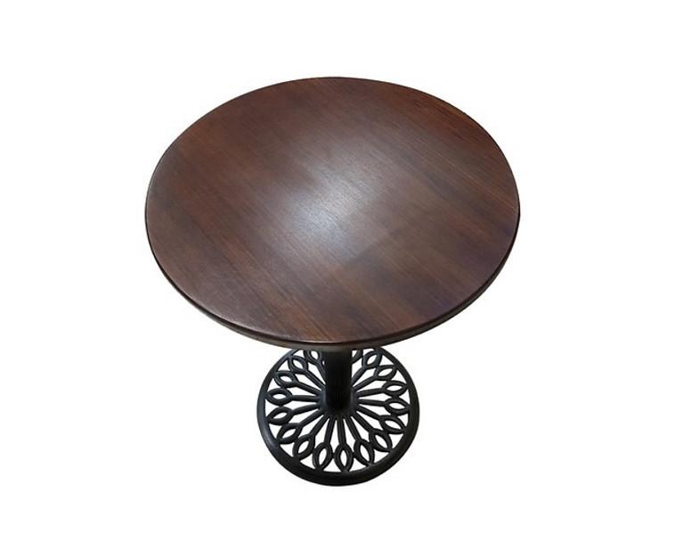 Bàn cafe chân gang đúc mặt bàn tre ép TH D50N - Màu nâu cánh dán sang trọng