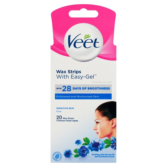 Tẩy lông mặt ria mép da nhạy cảm Veet Wax Strips 20 Miếng
