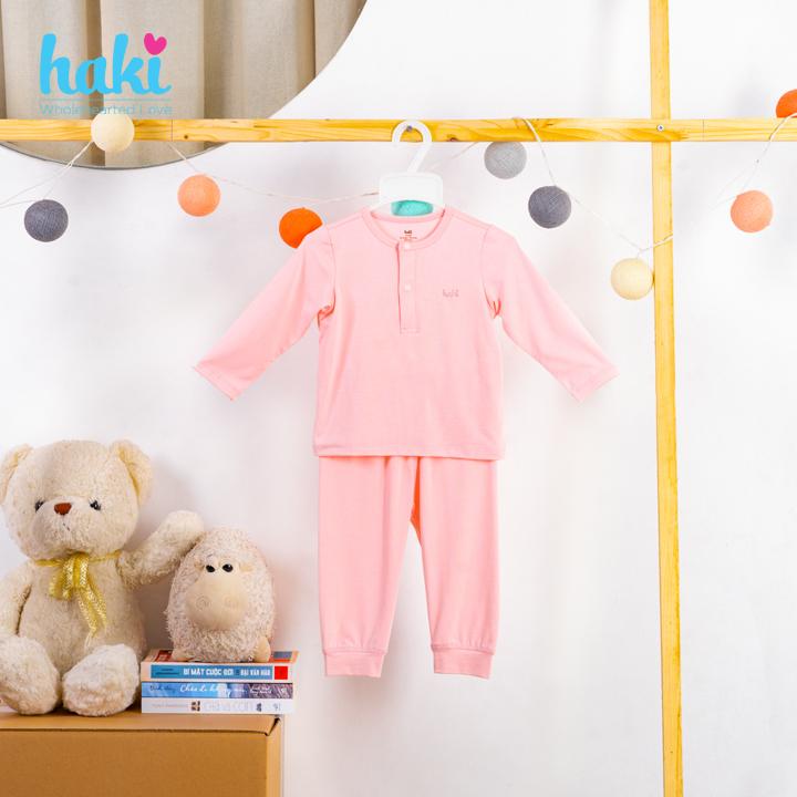 Bộ quần áo dài tay cổ trụ cho bé Haki BB011