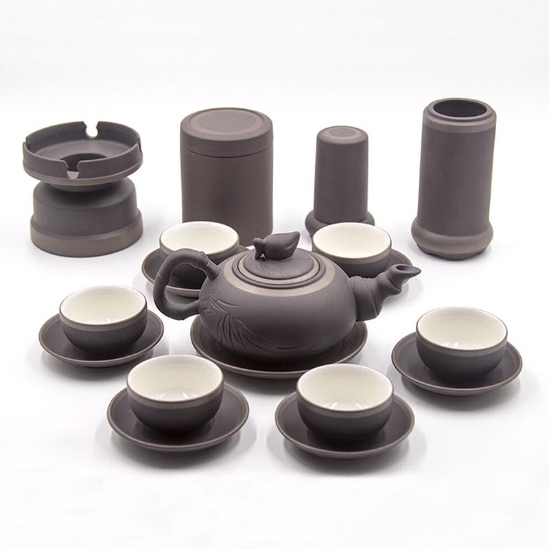 Bộ ấm trà gốm tử sa khắc Trúc Đào