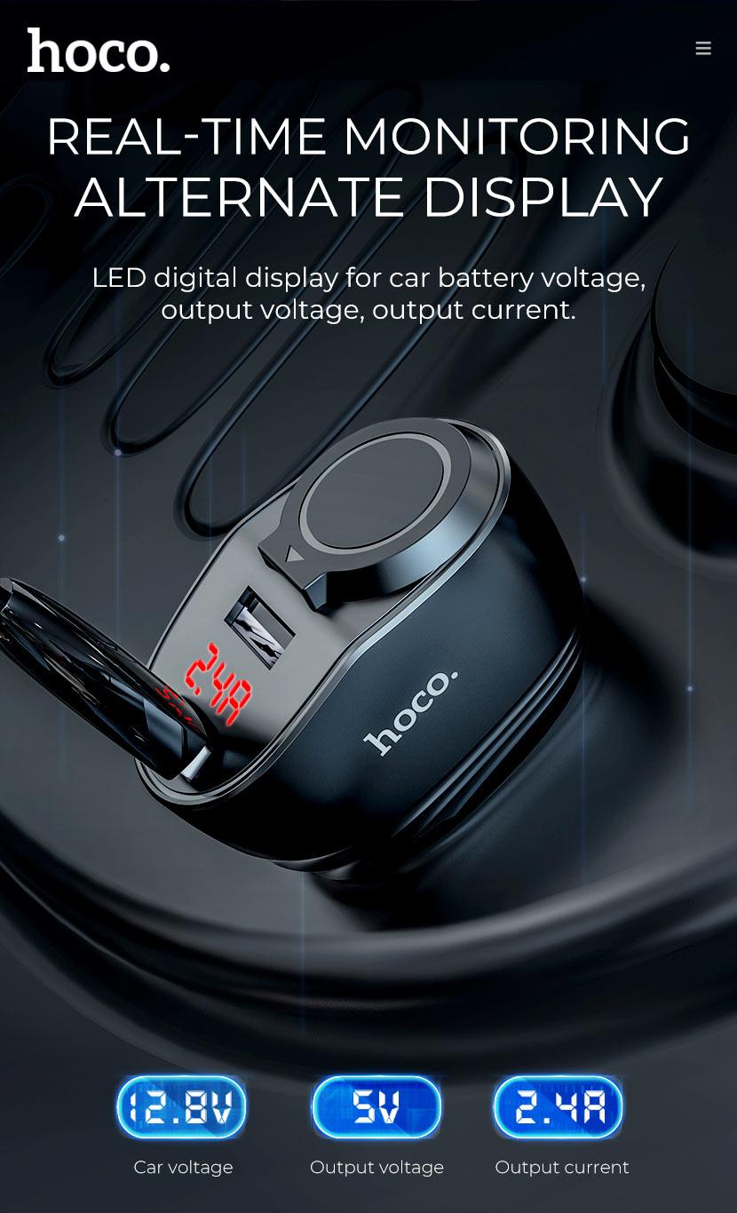 Bộ chia tẩu sạc ô tô, xe hơi nhãn hiệu Hoco Z34