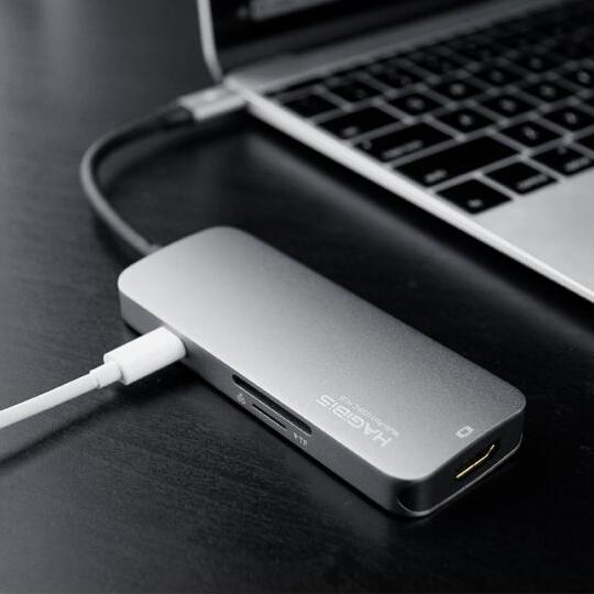 Cáp chuyển đổi Hagibis 7in1 USB-C to HDMI 4K/ USB 3.0/SD/micro SD/ PD - Hàng nhập khẩu