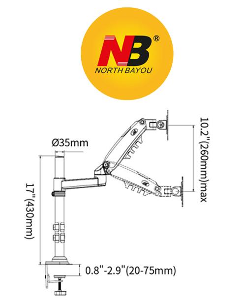 Giá treo 2 màn hình máy tính NB-H160(Hàng Nhập Khẩu)