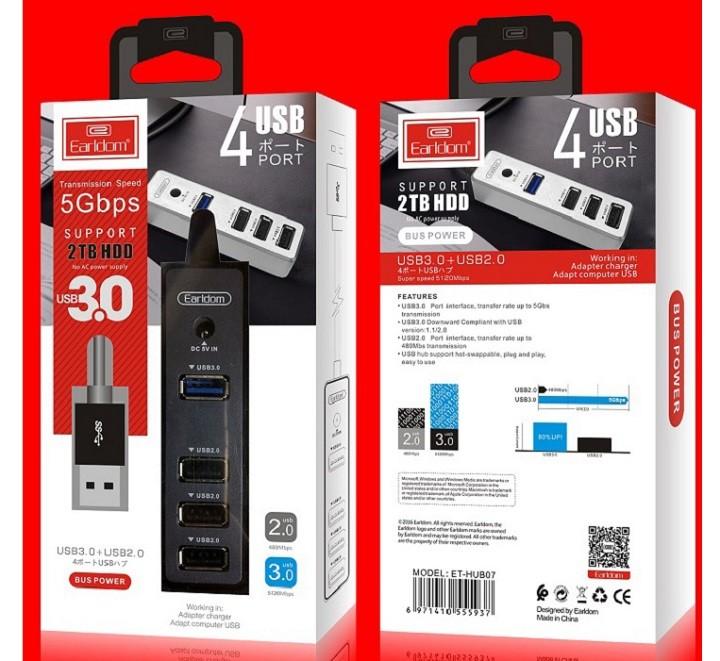 Bộ chia USB 1 ra 1 cổng 3.0 và 3 cổng 2.0 Earldom Hub-07 (Hub USB Earldom) - Hàng Chính Hãng