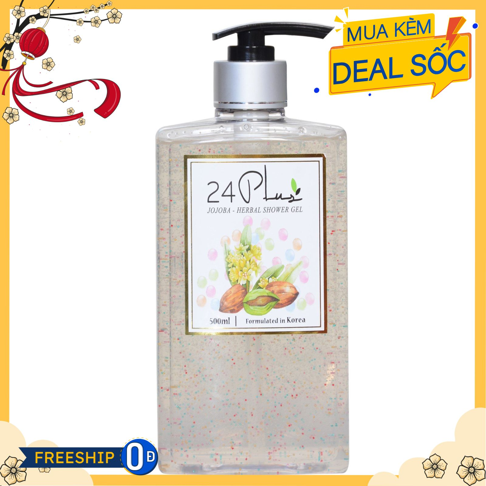 Gel tắm thảo dược jojoba 24 Plus 500ml
