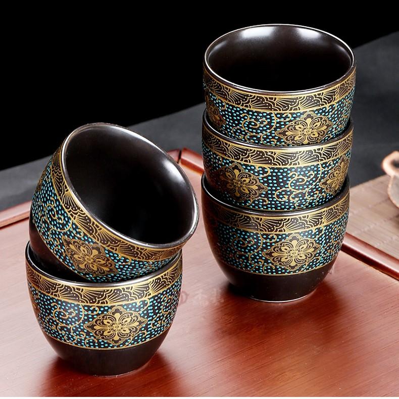 Bộ ấm chén pha trà cối xay sm007 - xanh đen vàng 9 món