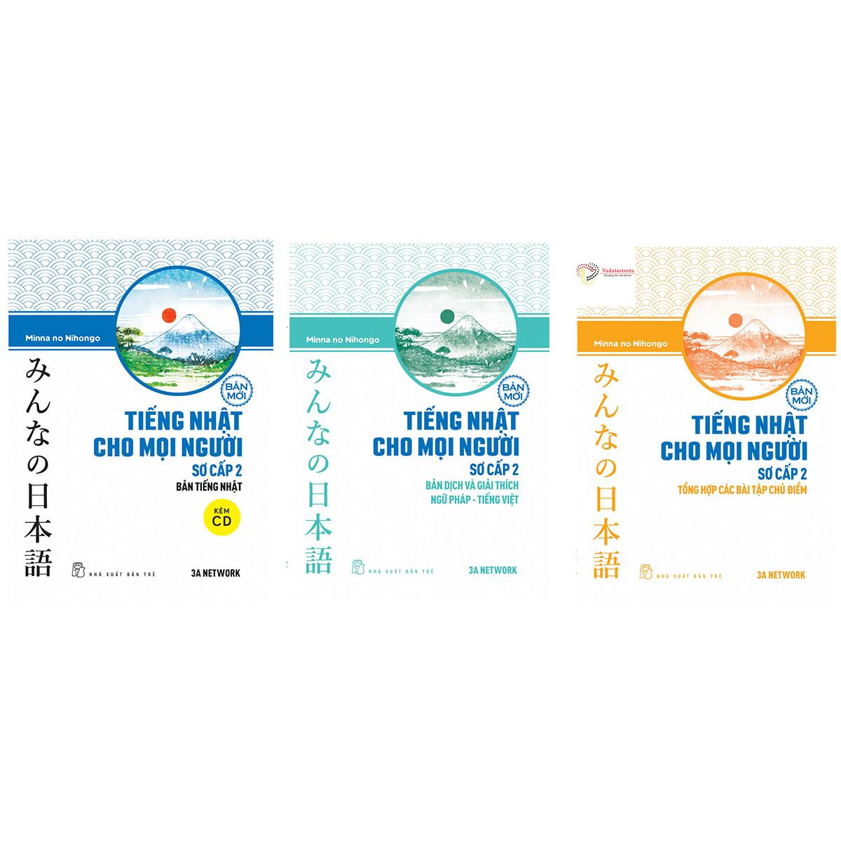 Combo 3 cuốn minna no nihongo trình độ n4 (Tiếng Nhật Cho Mọi Người - Sơ Cấp 2) Giáo trình, bản dịch, bài tập tặng cuốn rèn kỹ năng cho bé