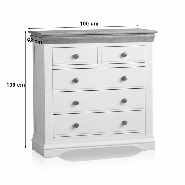 Tủ Ngăn Kéo 3+2 Country Cottage Gỗ Sồi Ibie BSK32COUO - Trắng (100 x 42 cm)