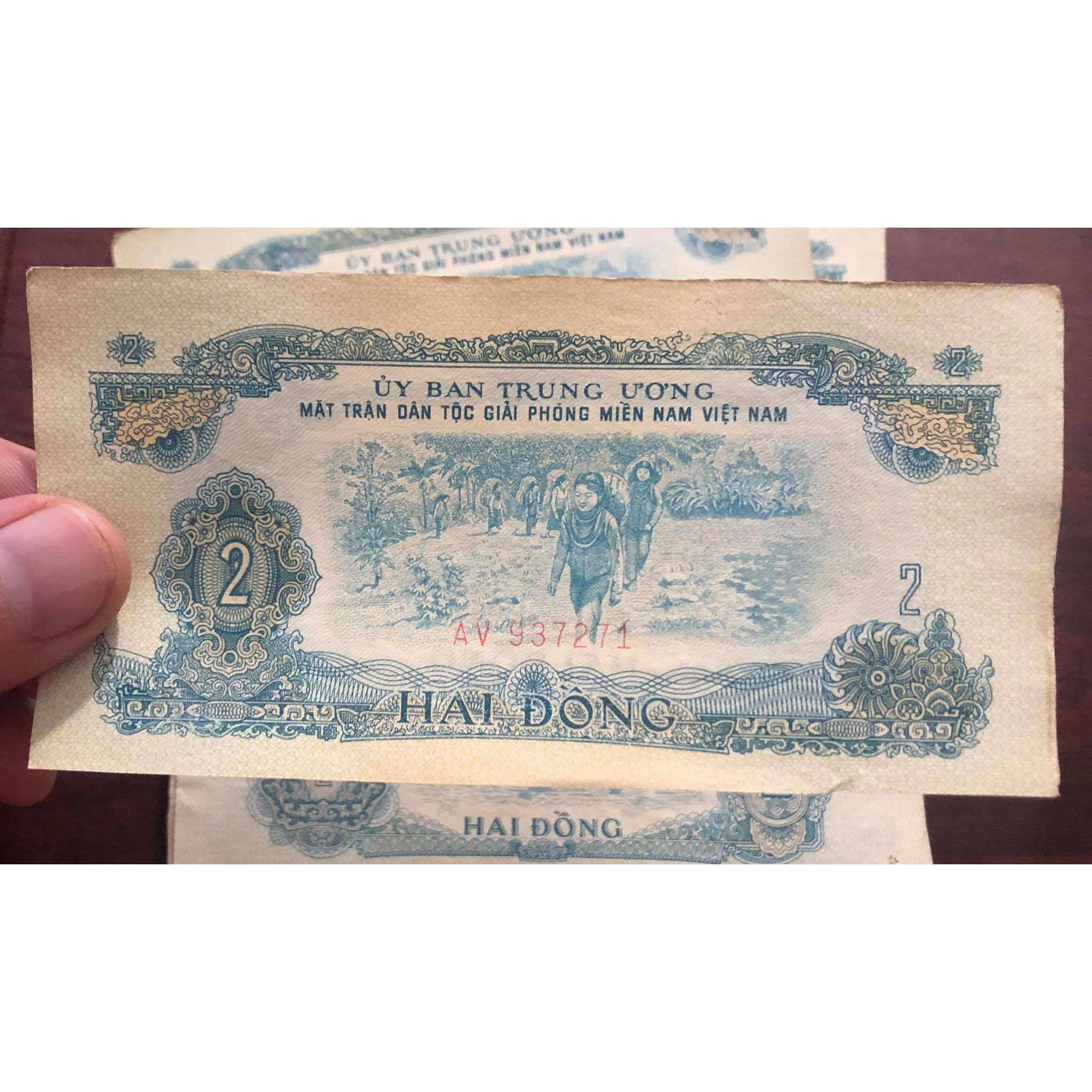 Tờ 2 đồng tiền cổ Việt Nam đồng bào Thượng, đánh cá sưu tầm