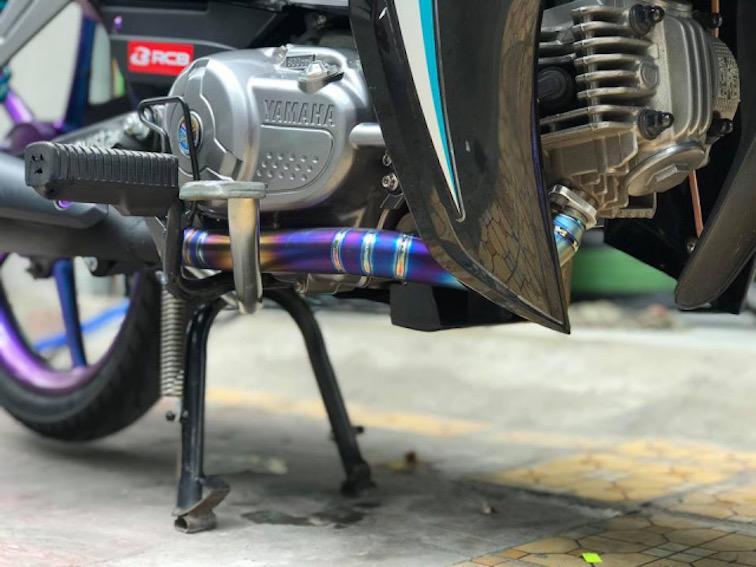 Cổ pô titan xịn phi 27mm x2mm dành cho Sirius xăng cơ gắn pô theo xe