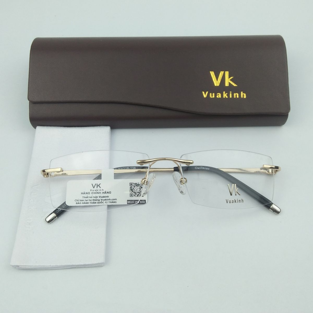 Gọng kính cận không viền càng báo đốm VK-27