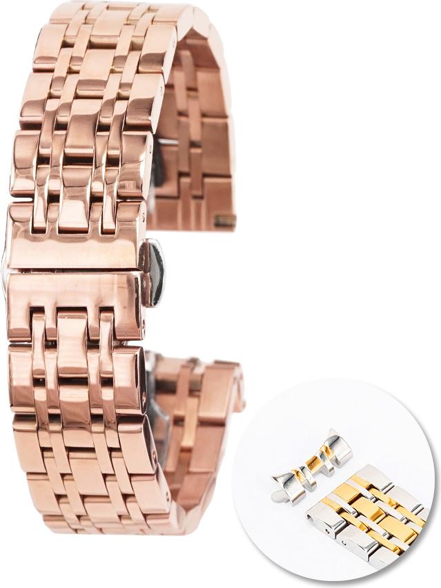 Dây đồng  hồ thép không gỉ cao cấp - Vàng hồng - 22mm
