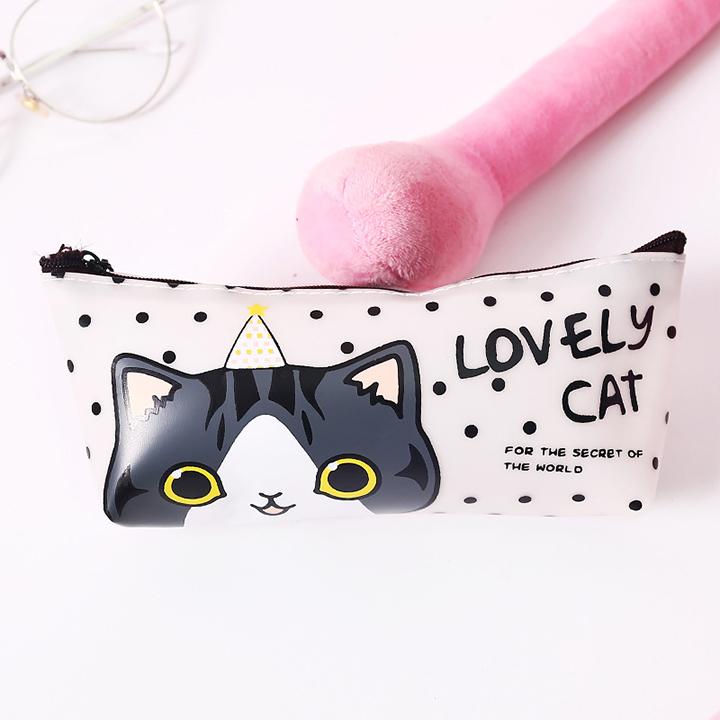 Hộp bút nhựa PU dễ thương hình mèo Lovely Cat - nhiều mẫu