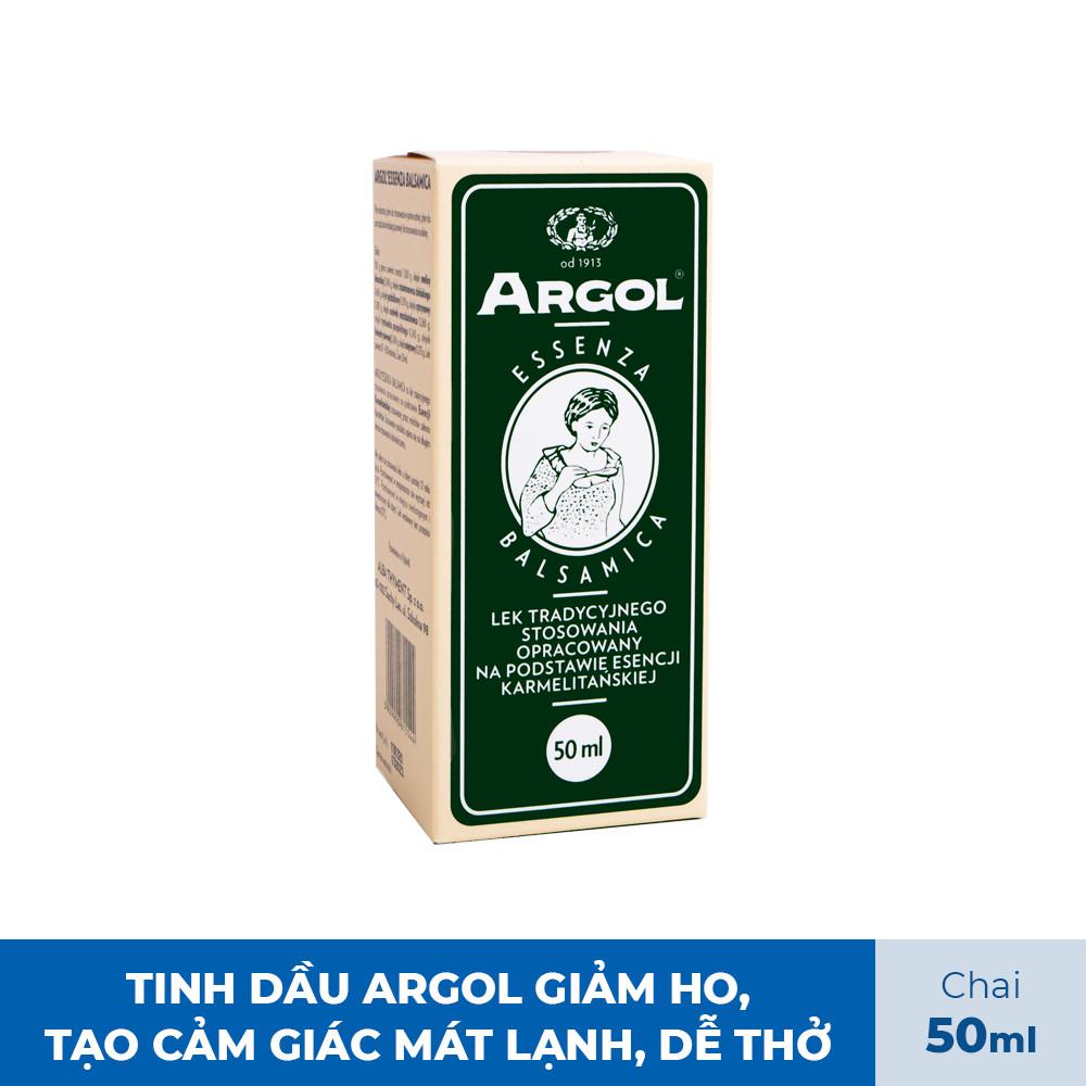 Tinh dầu Argol Essenza Balsamica tiết đờm, giảm ho, giảm khàn giọng, tạo cảm giác mát lạnh, dễ thở Polvita 50ml - Hàng chính hãng Argol Việt Nam