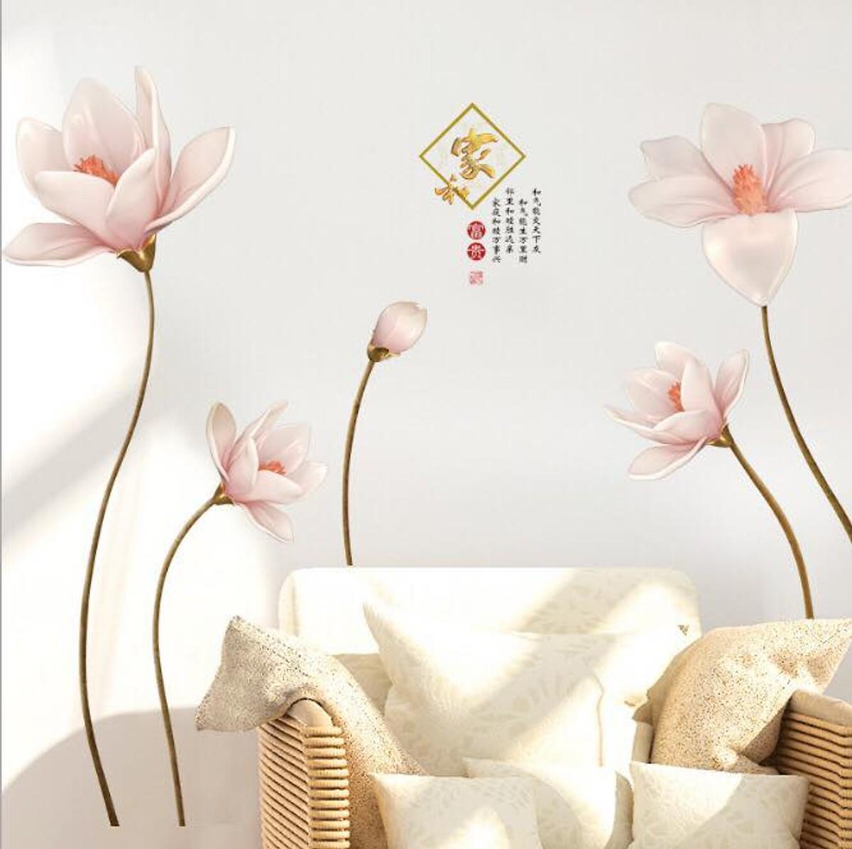 Decal dán tường hoa ly đá