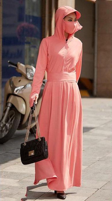 Set áo chống nắng gồm áo và váy quây chống nắng chất liệu cao cấp