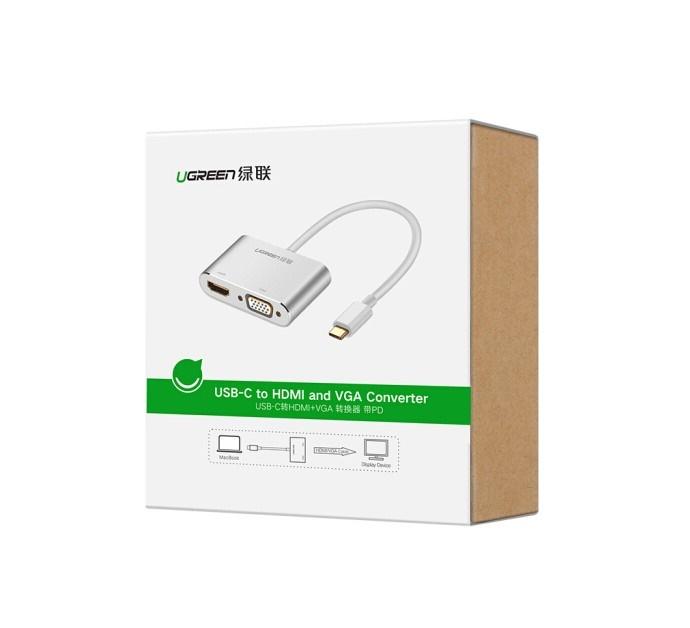 Cáp chuyển đổi USB type-C to HDMI và VGA Ugreen 50317 - Hàng chính hãng
