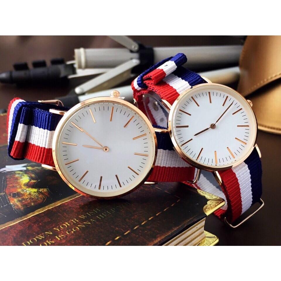 Đồng hồ thời trang nam nữ D3s dây vải 3 màu,viền kim loại mặt kính.