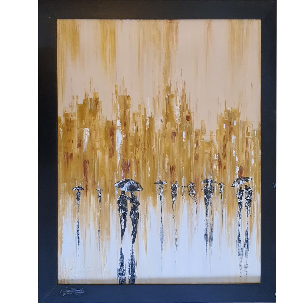 Tranh sơn dầu sáng tác vẽ tay: Khiêu vũ dưới mưa