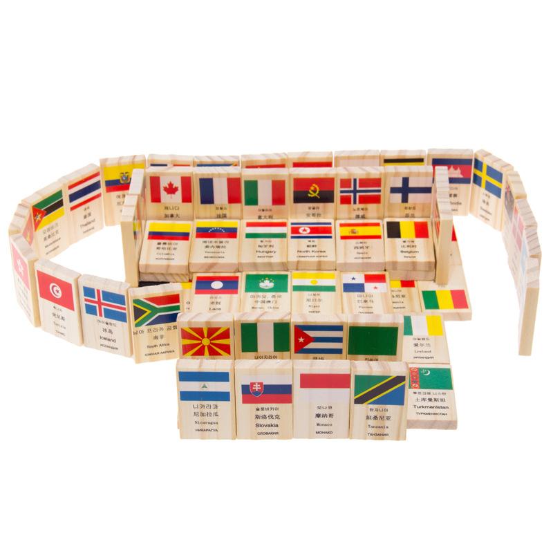 Domino Xếp Hình Tập Nhận Biết Quốc Kì-Tặng Kèm Túi Vải Đựng Quân Cờ