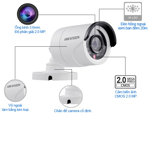 Camera HD-TVI Trụ Hồng Ngoại 2MP HIKvision DS-2CE16D0T-IR - Hàng Chính Hãng
