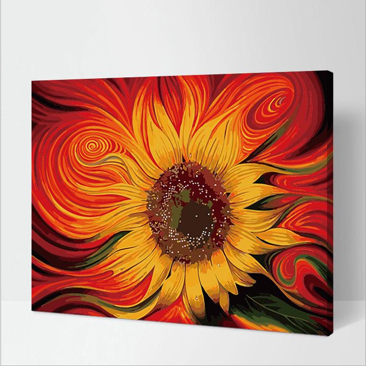 Tranh tô màu sơn dầu theo số  Hoa Hướng Dương Đính Kim Cương