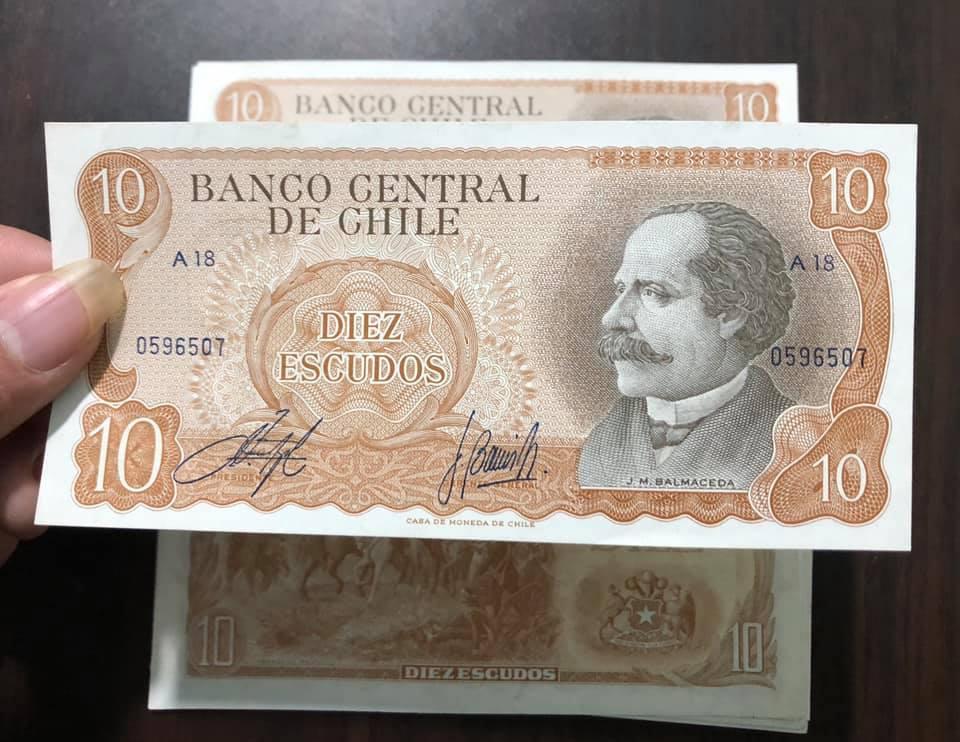 Tiền cổ Chile 10 Escudos giai đoạn cải cách bạo loạn  sưu tầm