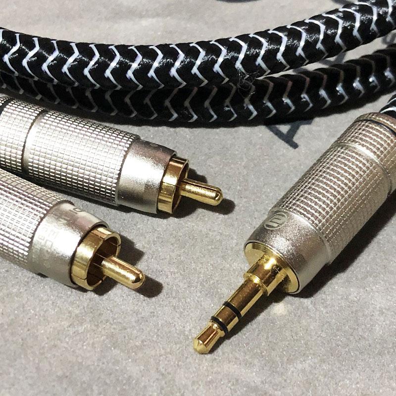 Dây Tín Hiệu Âm Thanh Chống Nhiễu 3.5mm ra 2 Đầu RCA Mạ Vàng AUDIOMECA SW-1290 Tặng Kèm Túi Nhung Cao Cấp - Hàng Chính Hãng