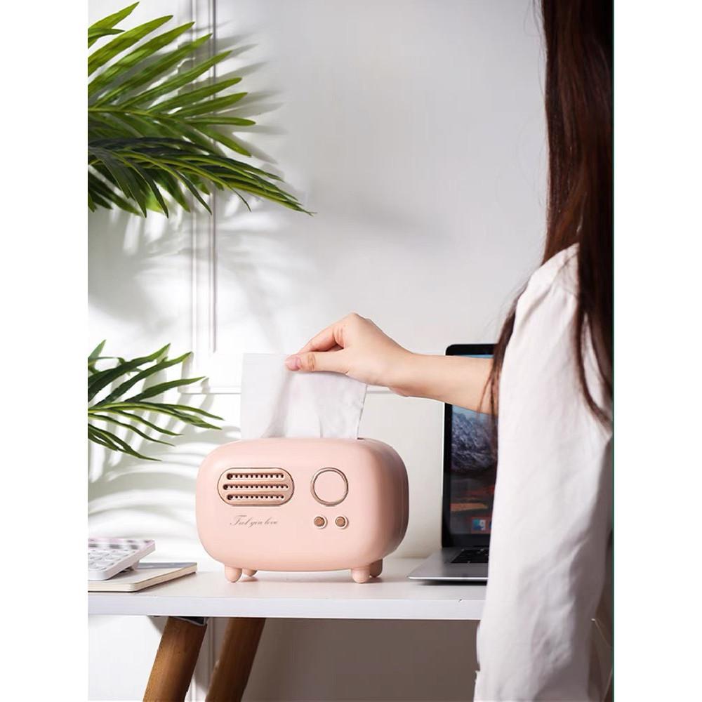 Hộp đựng khăn giấy để bàn, văn phòng, trên xe oto hình Radio độc đáo - màu đỏ, hồng